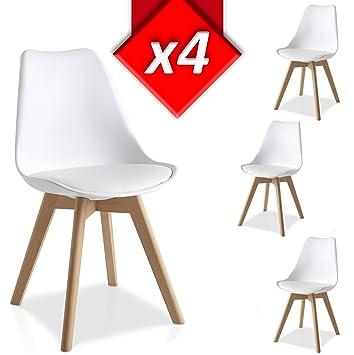 VS Venta-stock Pack 4 sillas Lucia Blanco, Pata Madera y Asiento Acolchado, Estilo nórdico