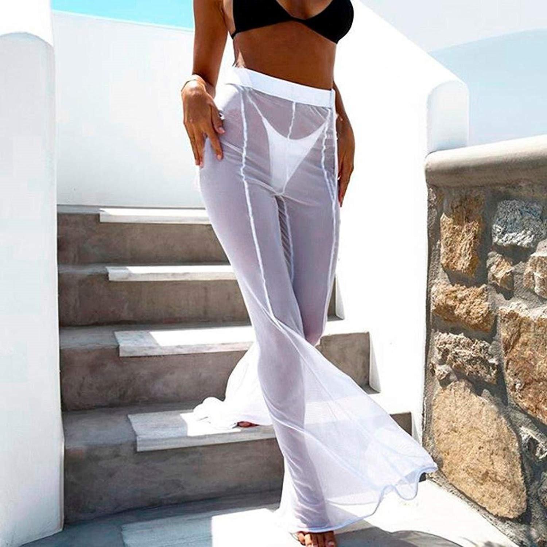 Pantalon Anchos Mujer Elegantes Moda Casual Pantalon Color Sólido Cintura  Alta Gasa Perspectiva Pantalones De Tiempo Libre Retro Señora Golpear Los  ... be405813baee