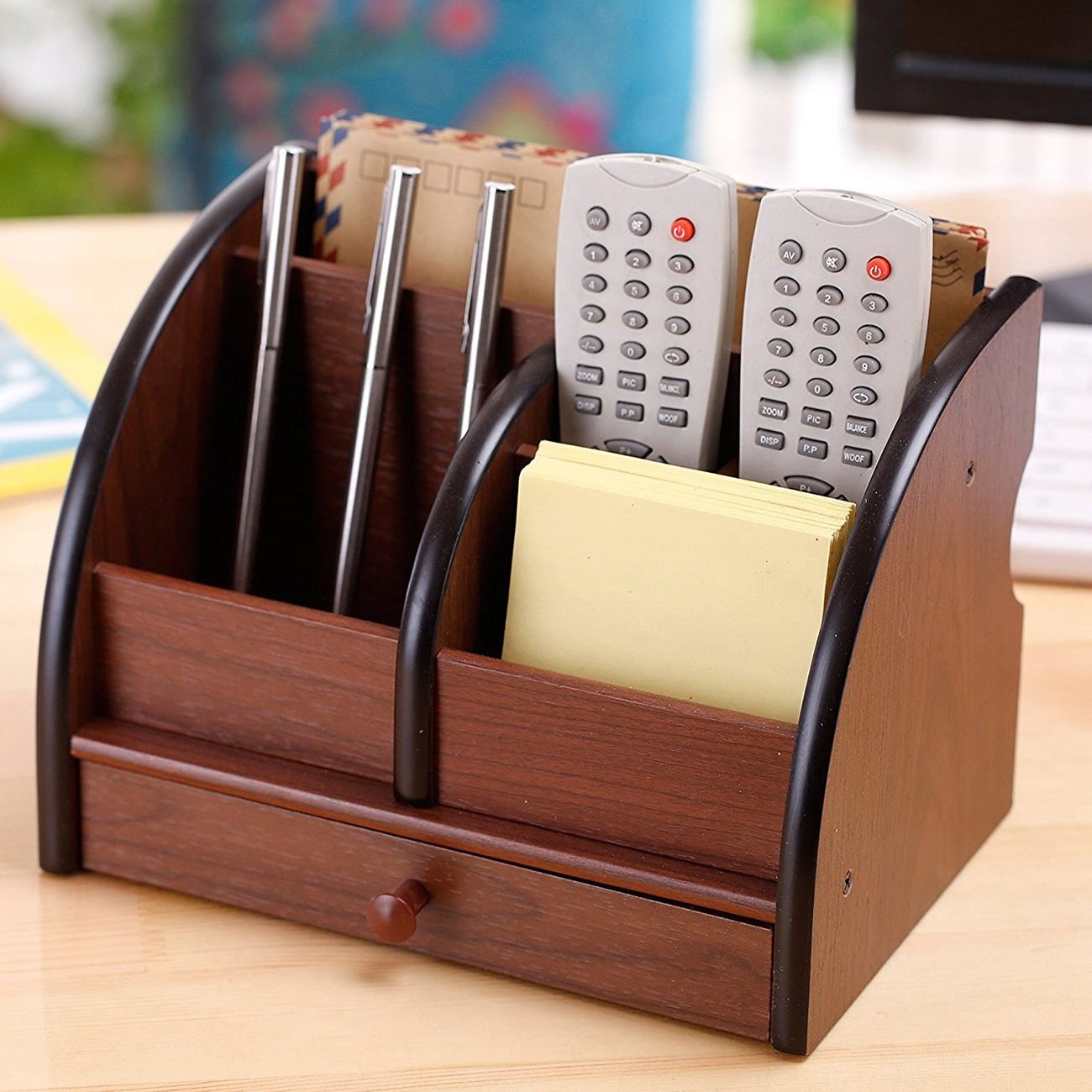 Nrpfell 5-Compartment Luxury Brown Wood Office Desktop Organizer/Letter Sorter with Drawer by Nrpfell (Image #5)