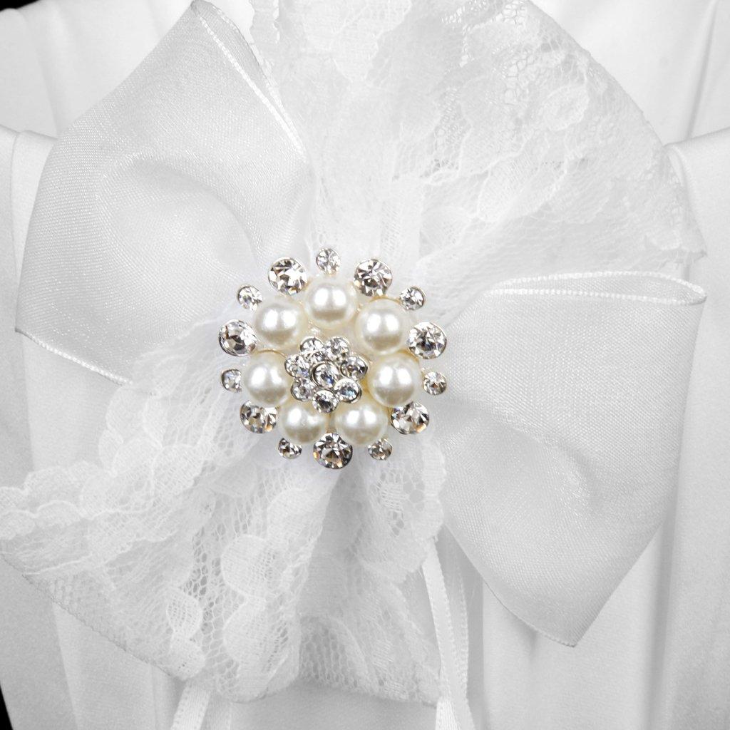 Blanc Panier de Fille de Fleur Orn/é de Noeud en Dentelle pour Mariage