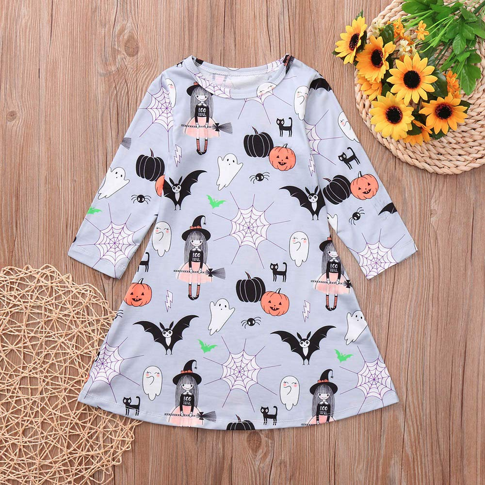 Star/_wuvi Dress Girl Baby Girl Ghost Spider Witch Pumkin Print Princess Long Sleeve Dress Halloween Outfits