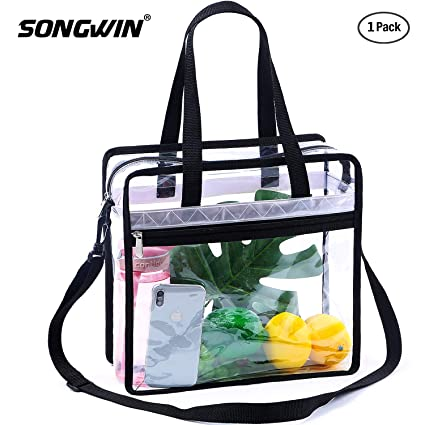 5eea10716623 Songwin Clear Bag NFL & PGA Stadium Approved - The Clear Tote Bag with  Adjustable Shoulder Strap and Zipper Closure is Perfect for for ...