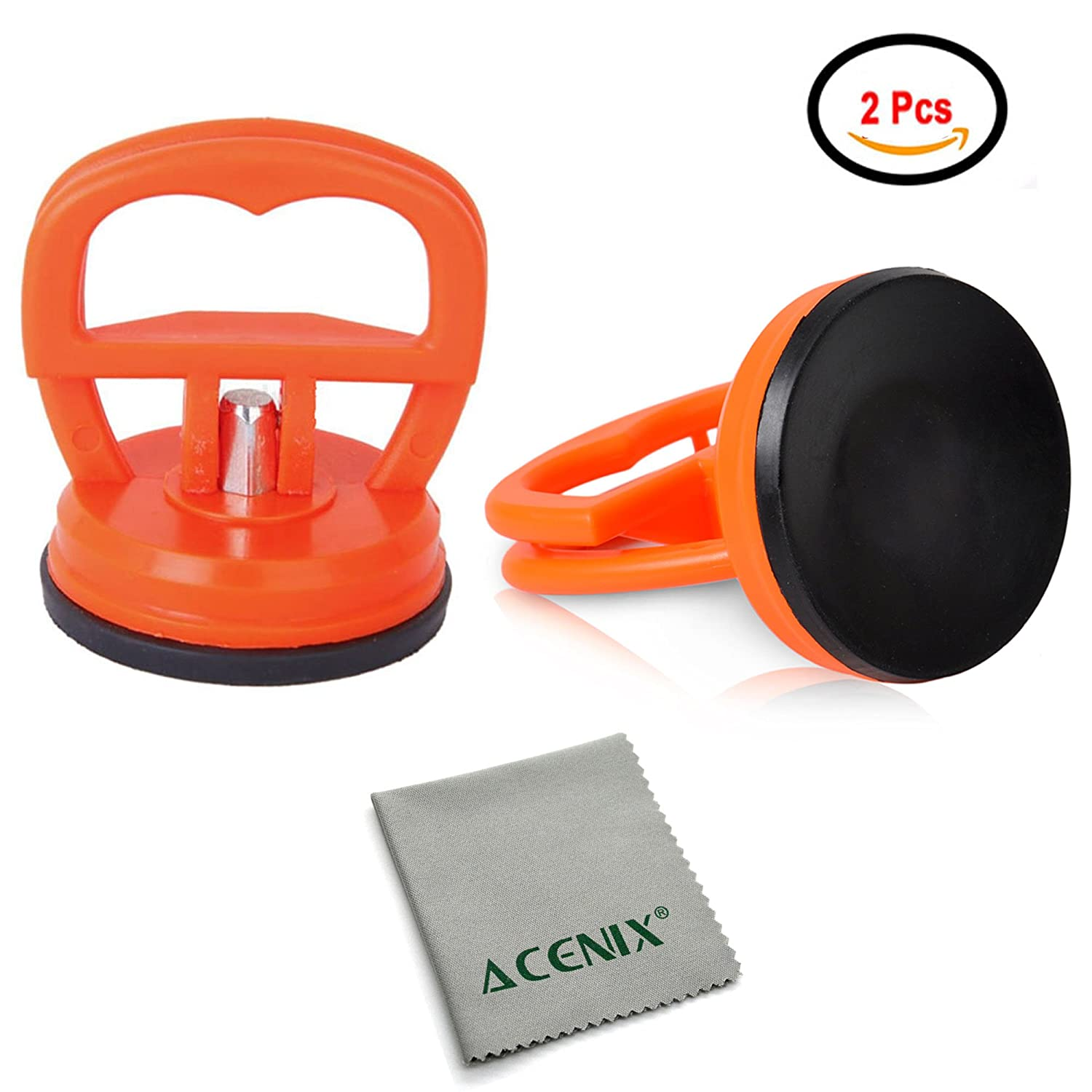 ACENIX [ Twin Pack ] 2 Pcs LCD Screen Opening Heavy Duty Dent Remover Sucker Puller Suction Cup For iMac iPhone iPad iPod Samsung, Samsung Tab [ iNcluded Cleaning Cloth ] TOOL MASTER DIRECT