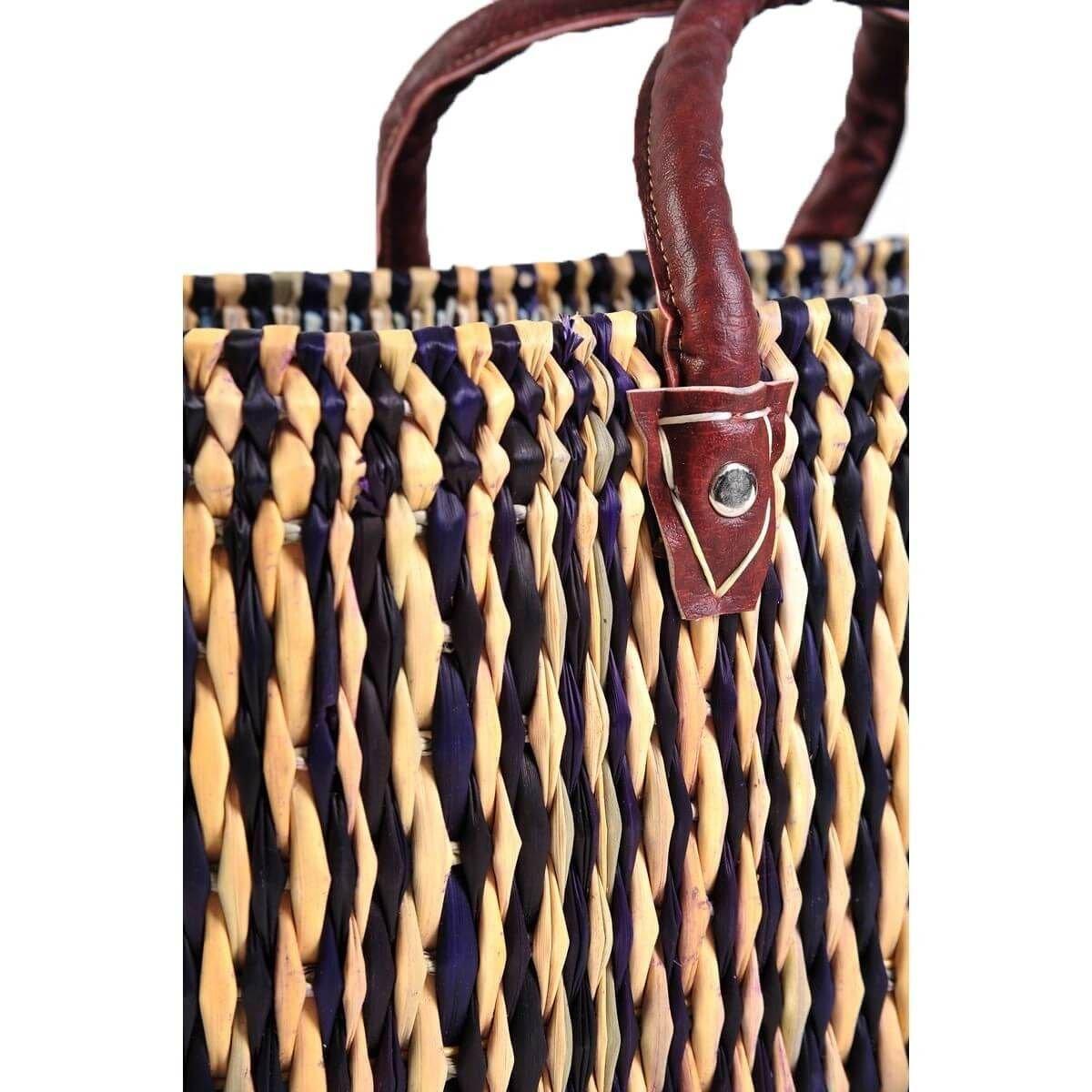 Simandra Seegras Tasche Korb Einkaufstasche Einkaufskorb Flechtkorb Korbtasche Palmgras Langer Griff groß Color Natur