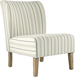 Signature Design by Ashley - Triptis Accent Chair - Farmhouse Style - Pinstriped Cream/Blue