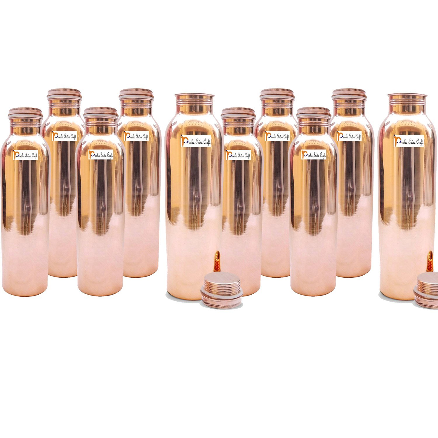 1000ml / 33oz - Set of 10 - Prisha India Craft ® Pure Copper Water Bottle for Health Benefits - | Joint Free, Handmade - Water Bottles - Handmade Christmas Gift