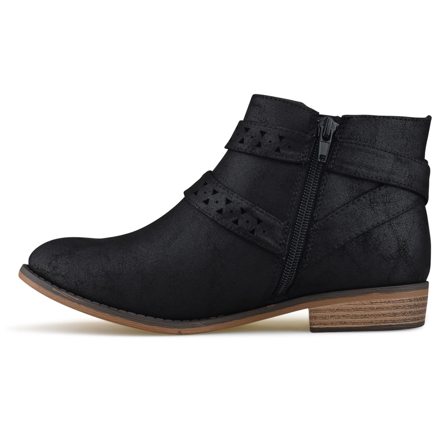 Premier Standard Womens Strappy Buckle Closed Toe Bootie Low Heel Casual Comfortable Walking Boot
