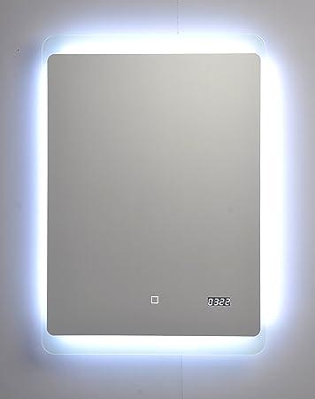 Badspiegel mit LED Beleuchtung / Badezimmer Spiegel beleuchtet mit Touch  Sensor und Digitaluhr, 50 x 70 cm