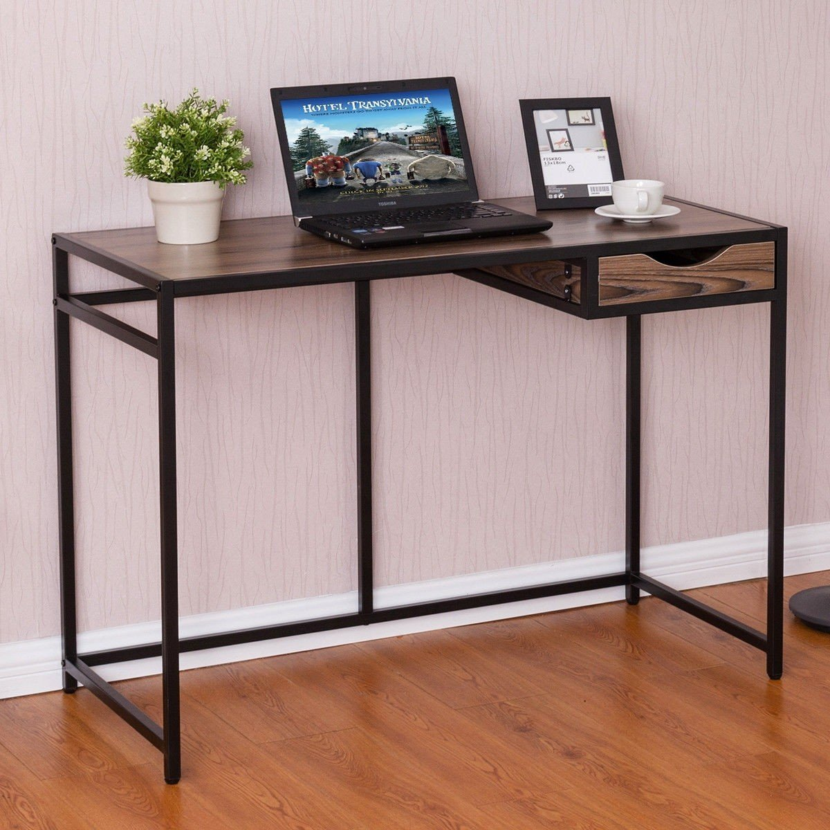Apontus Computer Desk PC Laptop Table Wood Top Metal Frame Writing Study Workstation