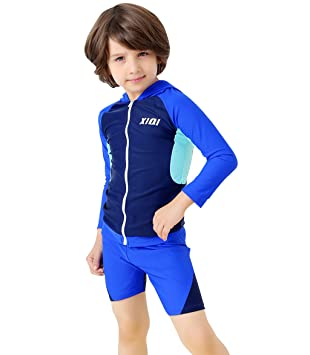 SWIWA Boys Two Pieces Swim Set Hoodie Long Sleeve Swimsuit for 2-13 Years  Children 439add185