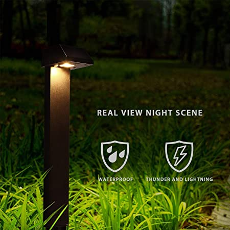Waterproof Pack of 4 Morvat Outdoor Decorative Solar LED Path and Garden Landscape Lights Black Amber Light Light up Your Path and Yard and Enhance Visibility Durable Hard Plastic
