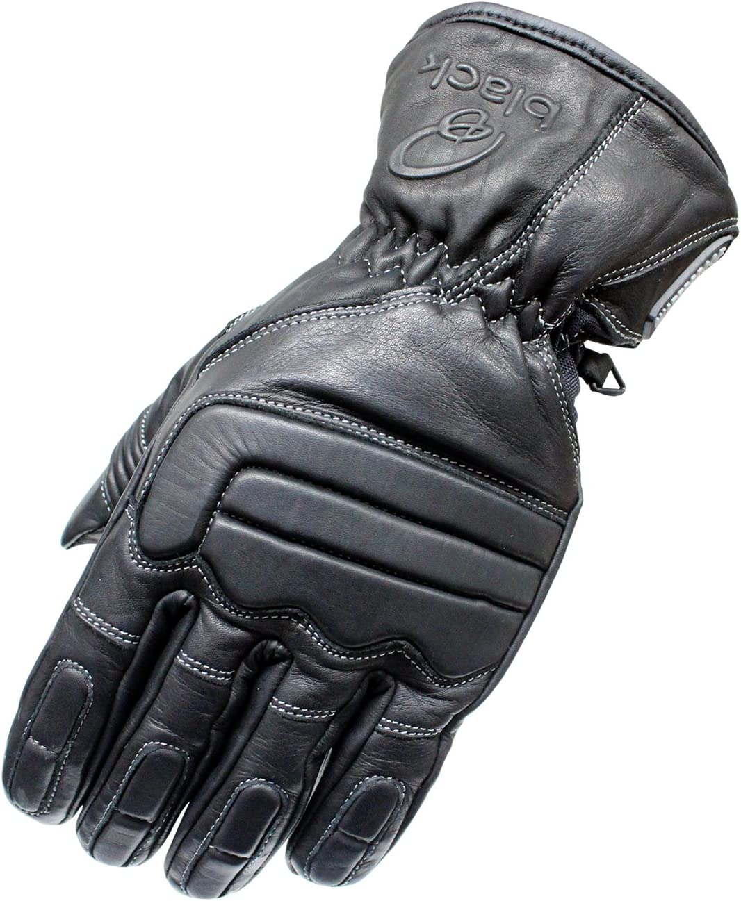 Black Charge Leather Motorcycle Gloves