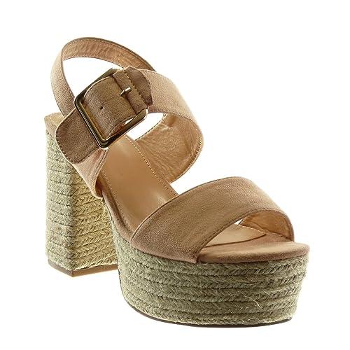 9c20999a7beb Angkorly - Scarpe Moda Sandali Mules con Cinturino alla Caviglia Zeppe  Donna Corda Tanga Fibbia Tacco