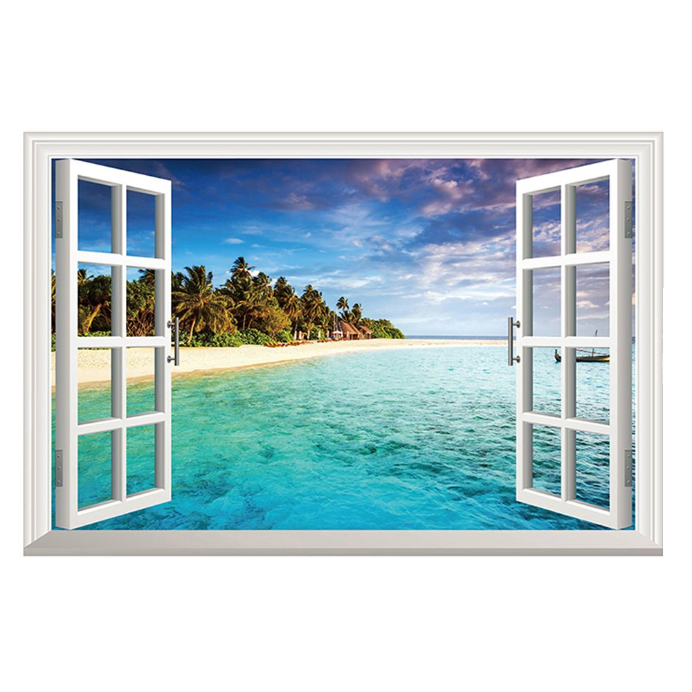 Open window beach - Winhappyhome Blue Sea Sky Beach Scene 3d Fake Window Wall Stickers For Bedroom Living Room Coffee