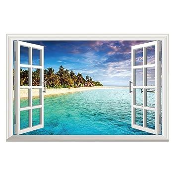 Amazon.com: Winhappyhome Blue Sea Sky Beach Scene 3D Fake Window ...