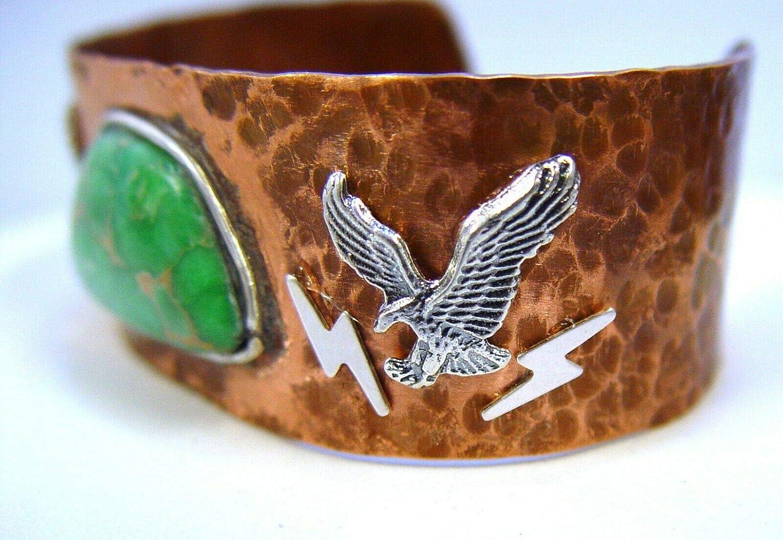 sterling silver /& solid copper cuff bracelet Utah variscite 7 14 39 grams