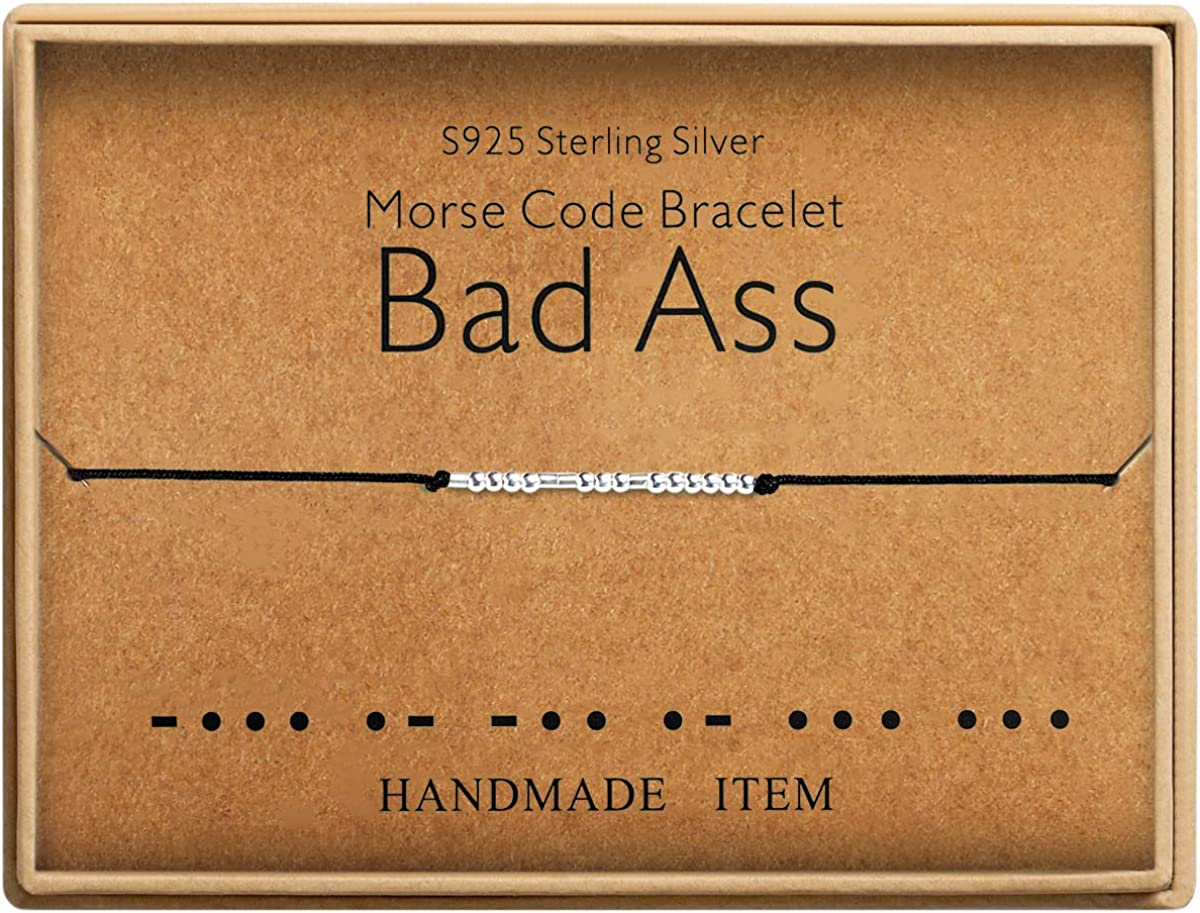 Bad Ass Bracelet Morse Code Jewelry Gift for Her Sterling Silver Beads on Silk Cord inspirational Gift for Her