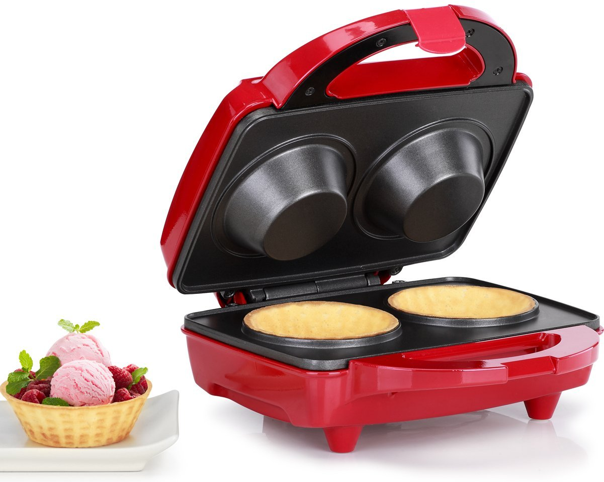 Holstein Housewares HF-09036R Waffle Bowl Maker - Red/Stainless Steel