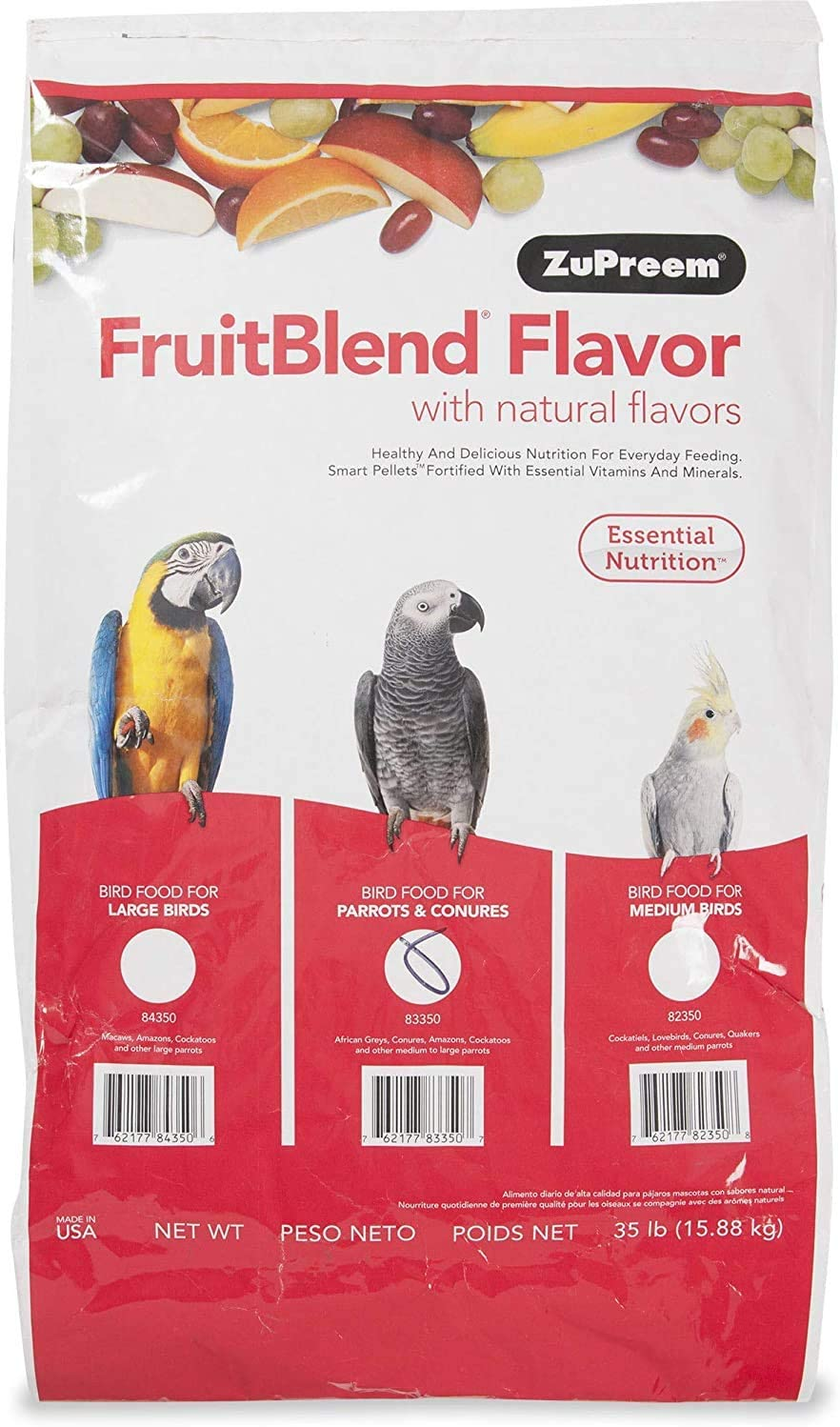 ZuPreem Fruit Blend Medium/Large Bird Food , 35# Bag