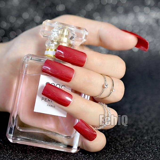 EchiQ - Uñas postizas cuadradas de color rojo con purpurina brillante, uñas postizas de ABS largas, puntas de uñas acrílicas sexy para mujer: Amazon.es: ...