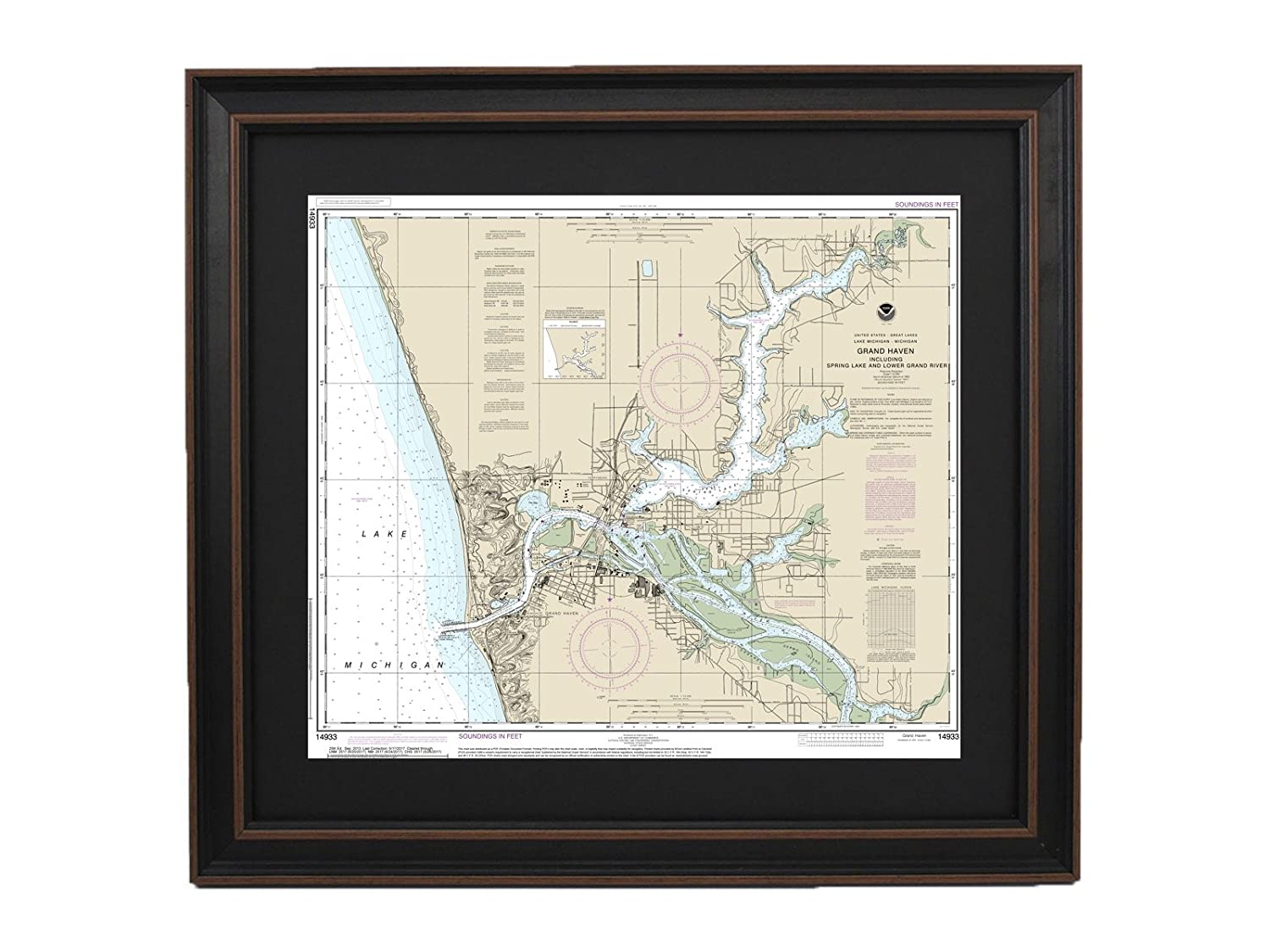 Amazon Com Patriotgearcompany Framed Nautical Chart 14933 Grand