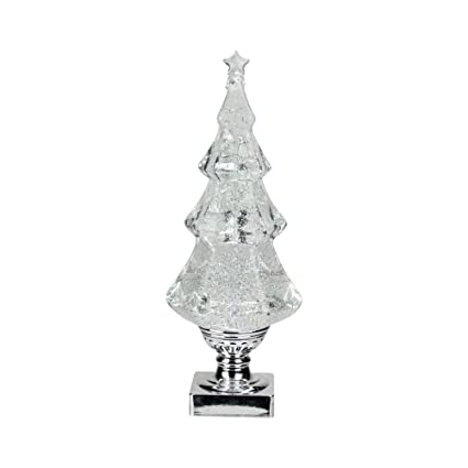 "14"" Swirling Glitter LED Lighted Christmas Tree Shaped Snow Globe - Amazon.com: 14"