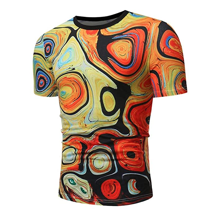 5741c9d38f26 Kanpola Herren T-Shirts Plus Size Männer Basic O-Neck 3D Print Shirt ...