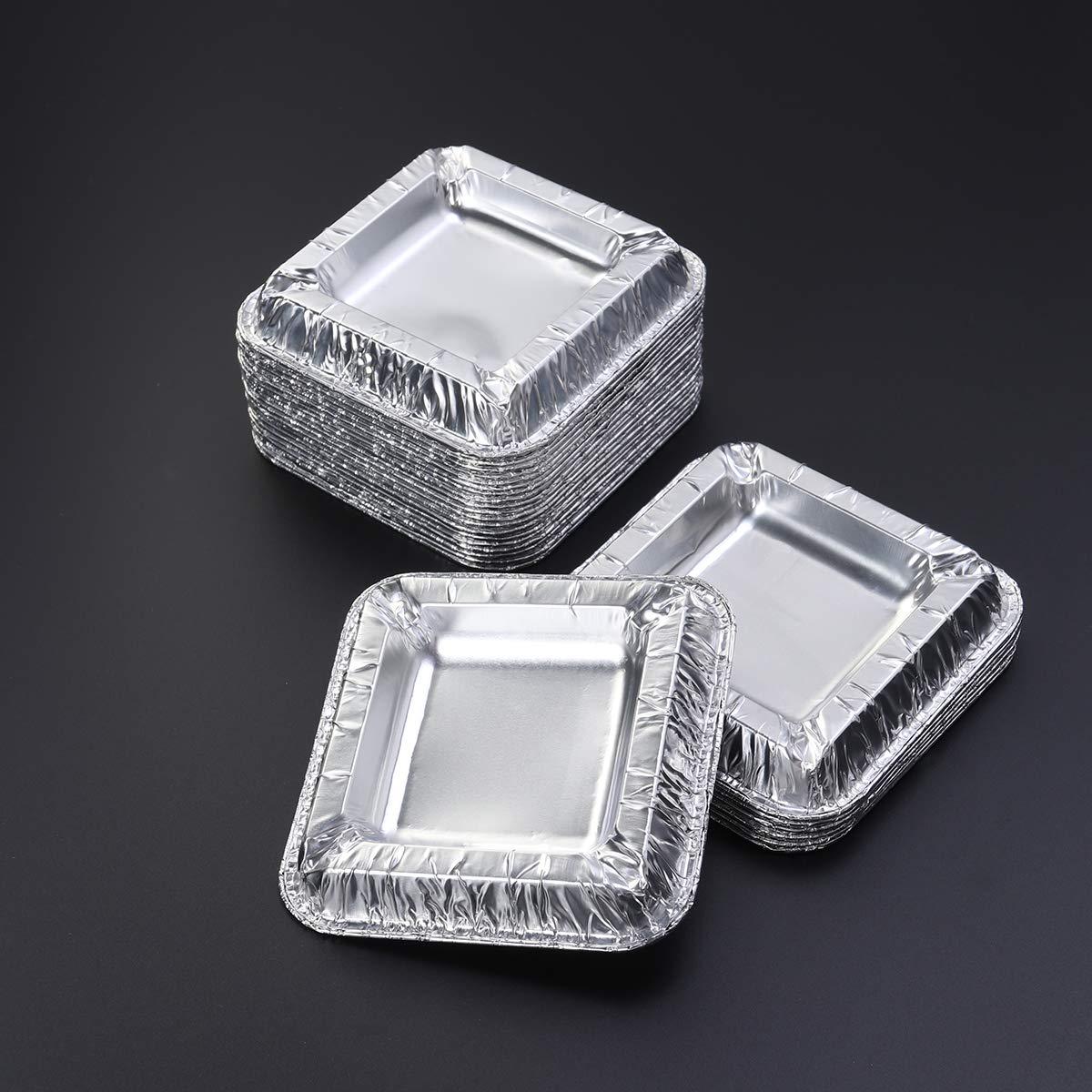 LIOOBO 25PCS Square Aluminiumfolie Aschenbecher Einweg unzerbrechlichen Aschenbecher
