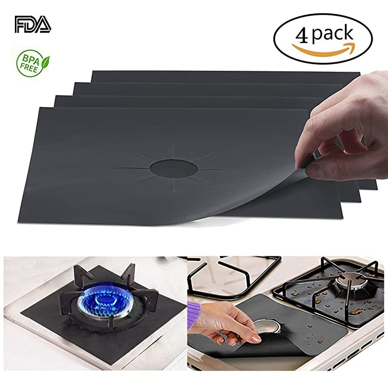 Gas Stove Burner Covers 4 Pack 106x106 Gas Range Protectors 02mm Double Thickness Non-stick Dishwasher Safe Easy to Clean Reusable for Kitchen Cooking