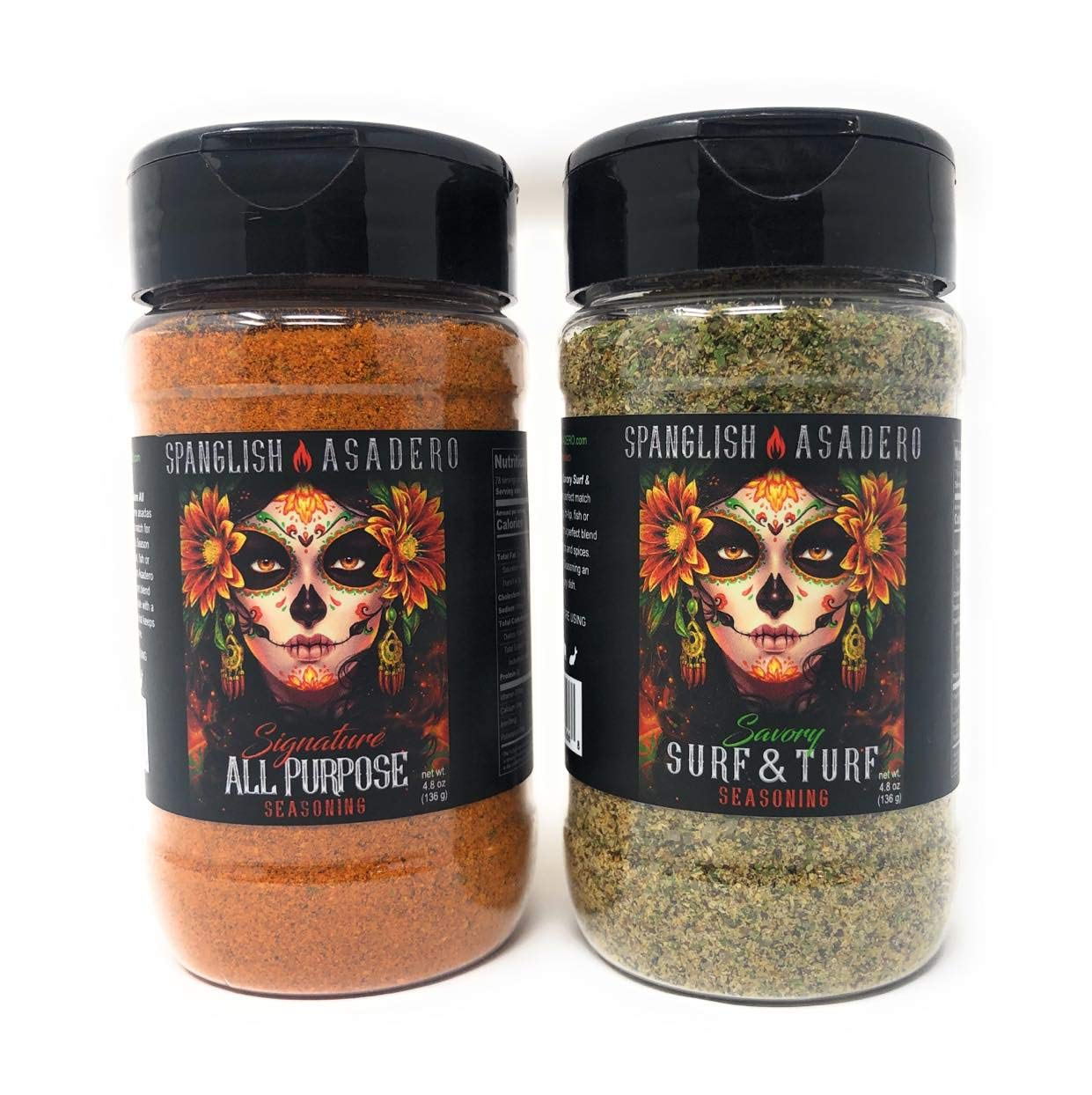 Spanglish Asadero Seasoning Mexican BBQ Rub | Savory Surf & Turf Chile Spice Set for Grilling & Smoking | All Purpose 4.8oz each| Great w/ Steaks Carne Asada Lobster Shrimp Tacos Seafood | 2 Pack Gift