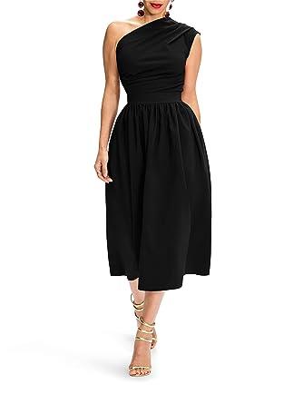 Kathemoi Womens One Shoulder Formal Dresses Slim Fit Elastic Waist Midi  Dress with Pockets 071c1c896620