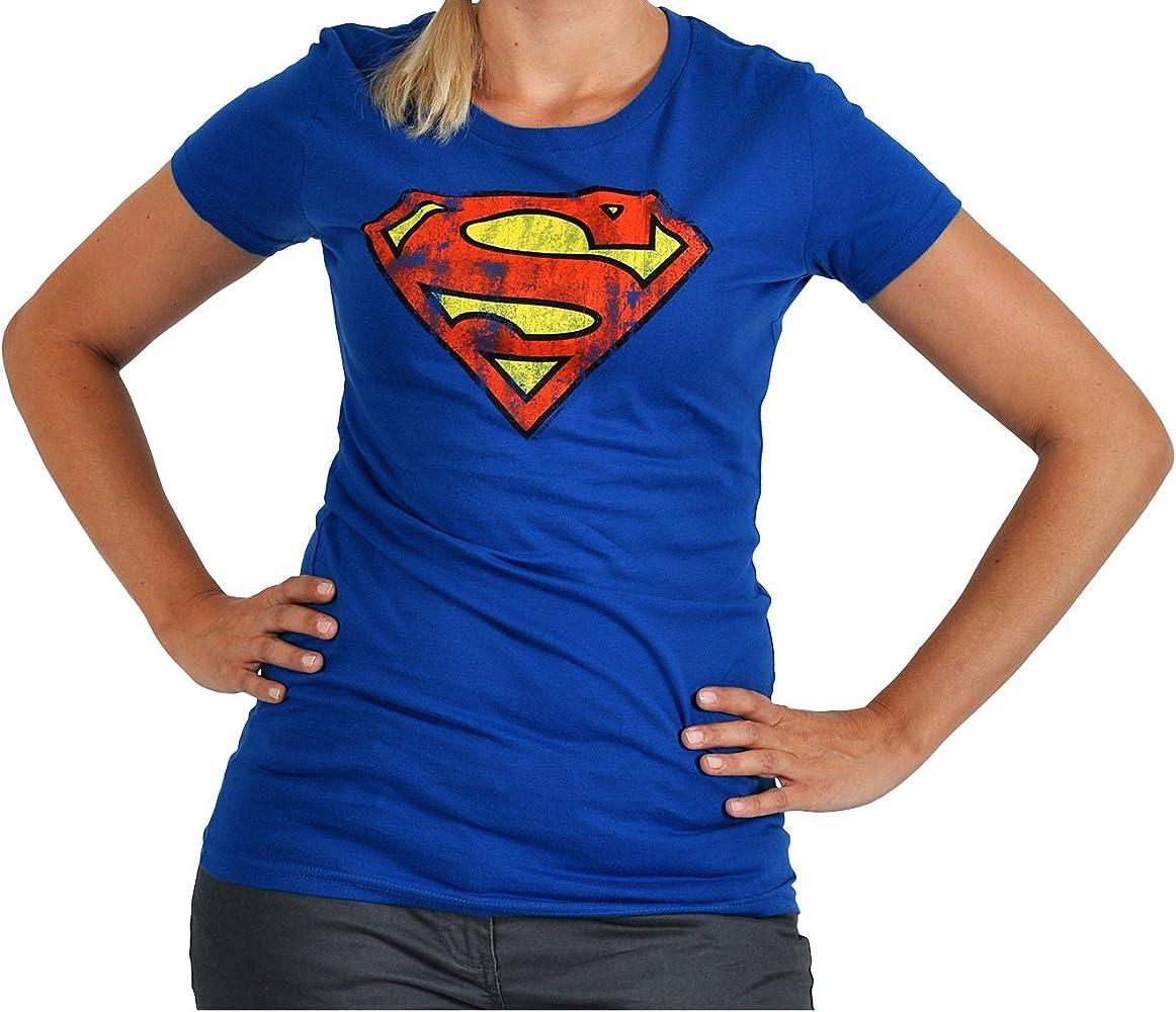 Superman Logo cómica Femenina, Camisa de Marca, de Alta Calidad de impresión Frente Grande - XS: Amazon.es: Ropa y accesorios
