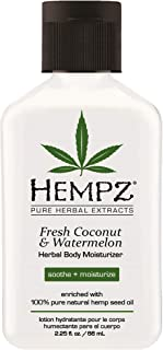 product image for Hempz Herbal Body Moisturizer, Pearl White, Fresh Coconut/Watermelon, 2.25 Ounce