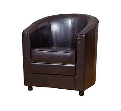 Astonishing Sofa Collection Girona Brown Faux Leather Tub Chair Armchair Seating 69X69X77 Cm Squirreltailoven Fun Painted Chair Ideas Images Squirreltailovenorg
