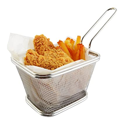 Basket Fry Chip Stainless Steel Mini-kitchen Home Fries Frying Potato Useful Strainer Serving Food Presentation Cooking Tool Colanders & Strainers Other Kitchen Tools & Gadgets