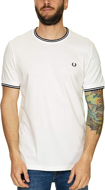 Fred Perry Hombres Camiseta con Doble Punta m1588 808 Blanco XL ...