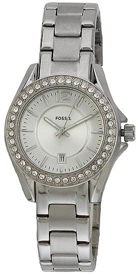 Fossil ES2879 - Reloj analógico de cuarzo para mujer con correa de acero inoxidable, color plateado: Fossil: Amazon.es: Relojes