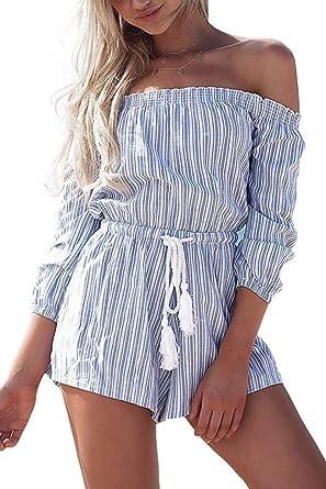 733073ec48f Simplee Apparel Women s Summer Casual Off Shoulder Long Sleeve Strip  Playsuit Short Jumpsuit Romper  Amazon.co.uk  Clothing