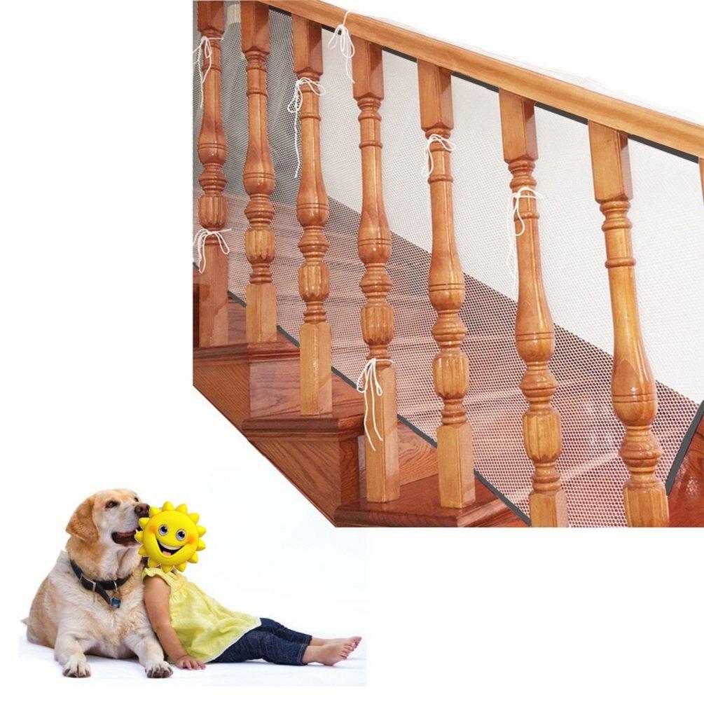 blanco Malla de seguridad ajustable para balcones de escaleras o patios 3M Red de seguridad para protecci/ón infantil