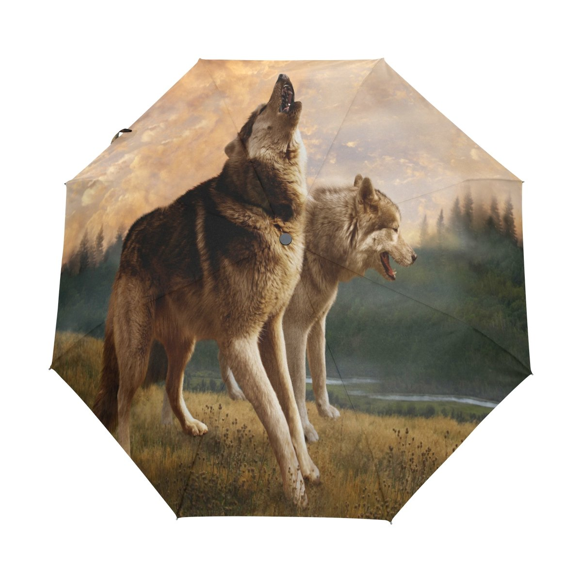 5fbf3e90d7d6 hot sale 2017 ALAZA Forest Fog Wolf 3 Folds Auto Open Close Anti-UV ...