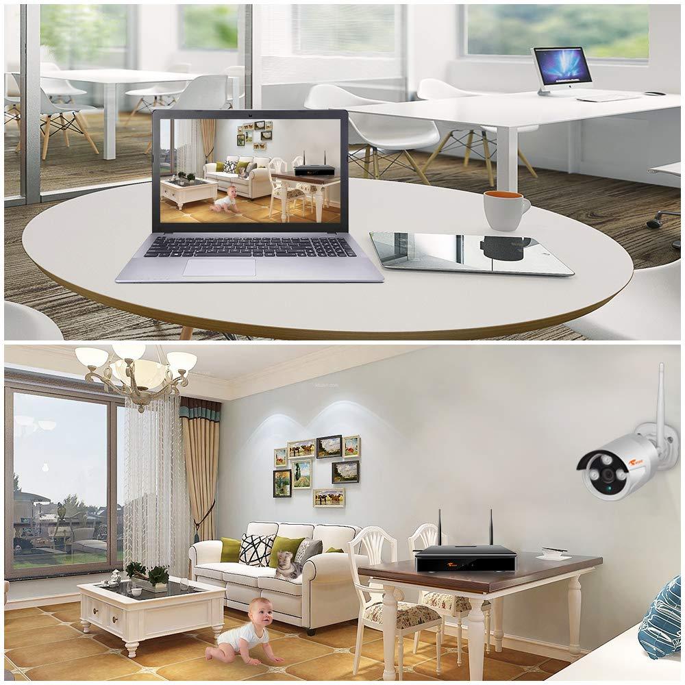 Corsee Sistema de cámara IP de videovigilancia de 4 piezas con kit WiFi full HD de 1080p plug and play, 2.0 megapíxeles, visión remota rápida y alarma de ...