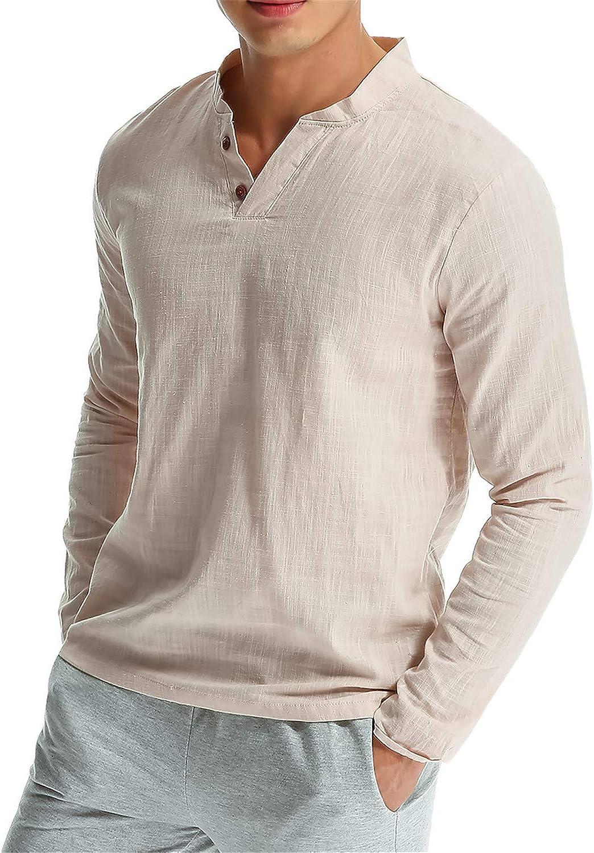 MODCHOK Hombre Camiseta Manga Larga Henley T-Shirt Sudaderas Cuello V Casual Algod/¨/®n?