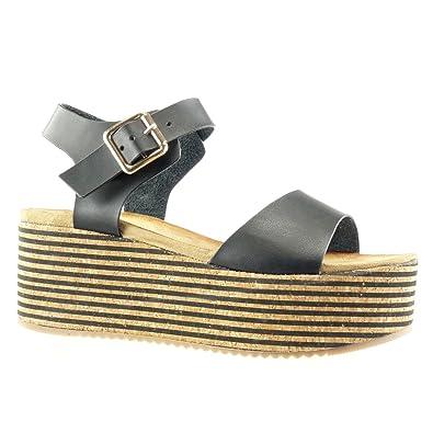 Angkorly Damen Schuhe Sandalen Mule - Plateauschuhe - Kork - Linien - String Tanga Keilabsatz High Heel 7 cm - Silber LL672 T 39 9brpr