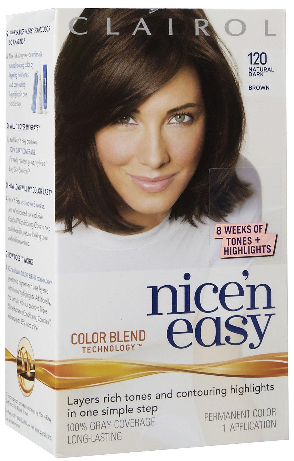 Clairol Nice 'n Easy Hair Color, Natural Dark Brown (120) (6 Pack)