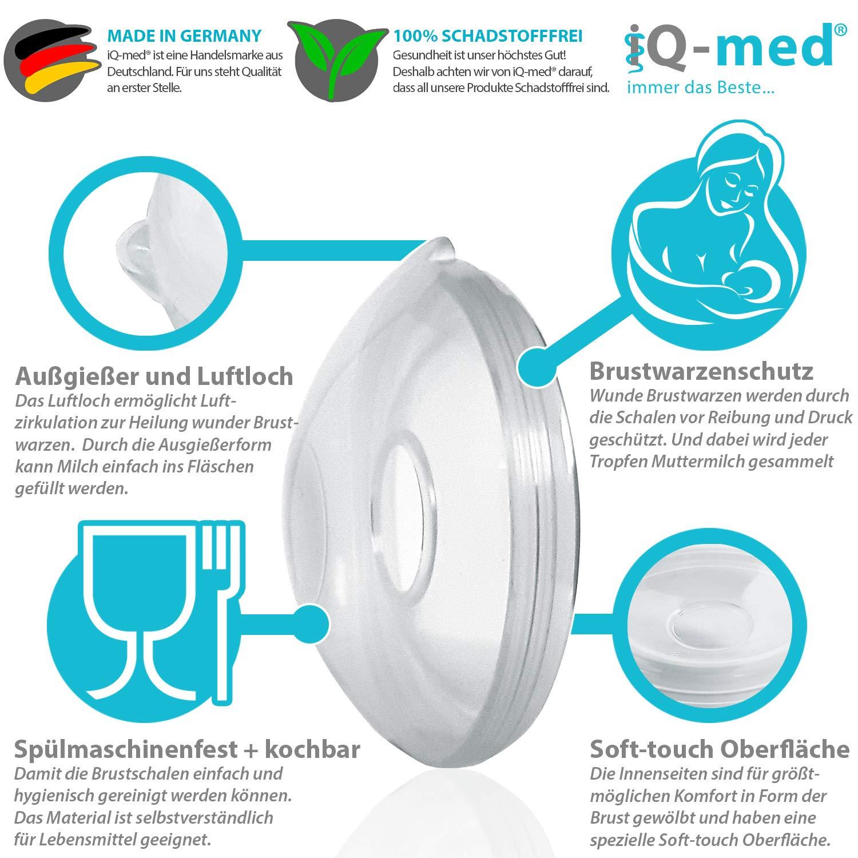 2 St/ück iQ-med Brustschalen Milchauffangschale und Brustwarzenschutz Made in Germany