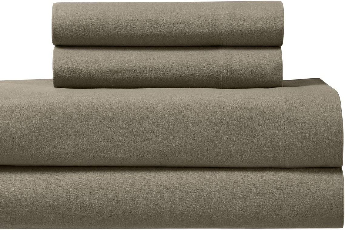 Amazon Com Royal S Heavy Soft 100 Cotton Flannel Sheets 4pc Bed Sheet Set Deep Pocket Thick Heavy And Ultra Soft Cotton Flannel Taupe California King Home Kitchen