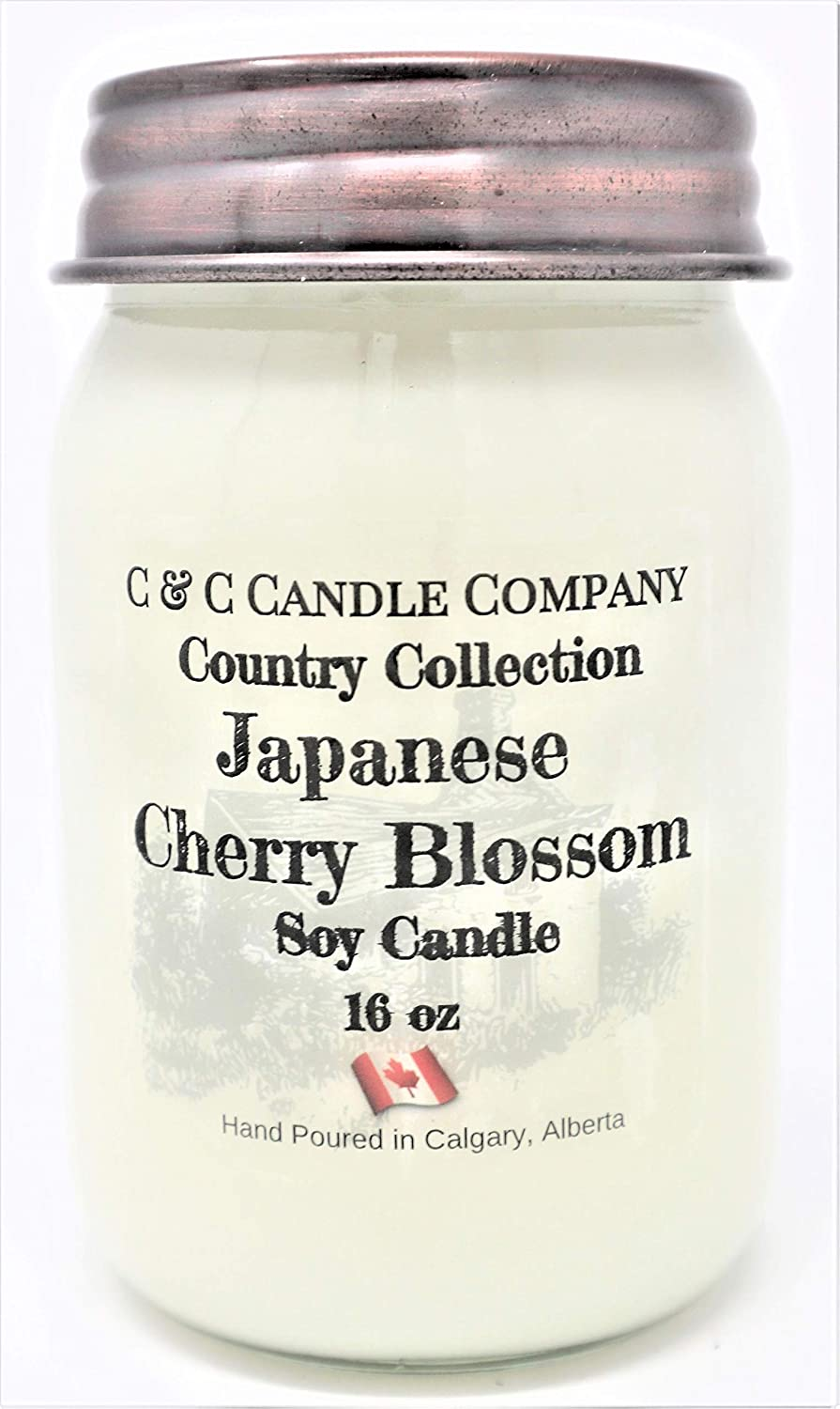 Canadian Made Hand Poured by C /& C Candle Company Inc. Large 16 oz Country Collection Japanese Cherry Blossom Soy Candle