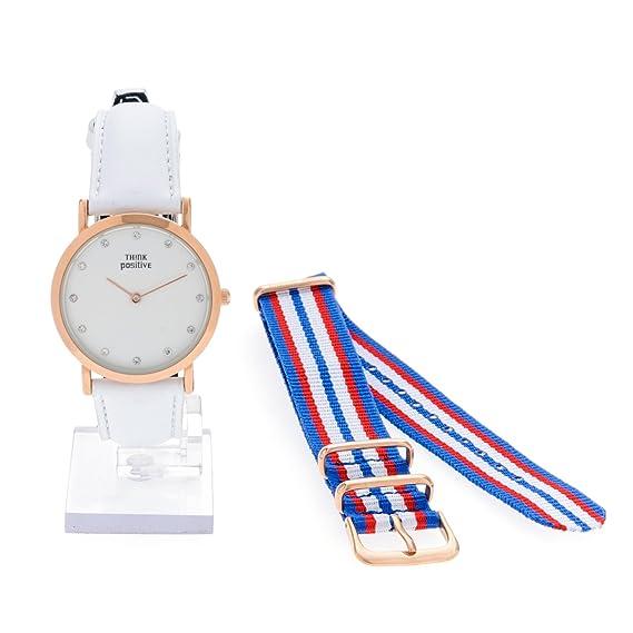 Señoras THINK POSITIVE® Modelo SE W96 Rosè Pulsera De Cristal Reloj Medio Plana De Acero