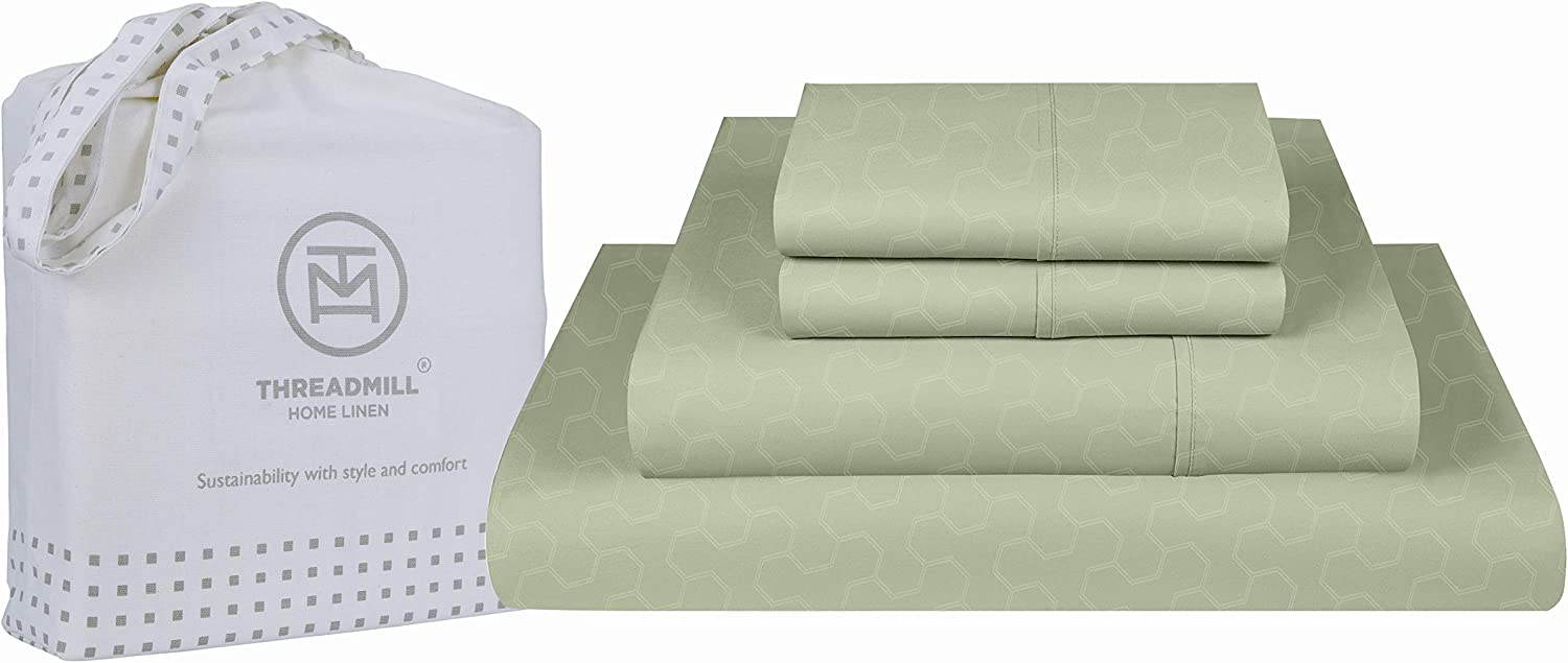 Threadmill Home Linen Twin Sheets - 500 Thread Count Jacquard Damask Weave, 3 Piece Extra Long Staple Cotton Bedding Set, Breathable Floria Sage Sheets with Elasticized Deep Pocket