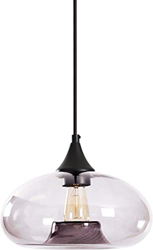 Amazon Brand Rivet Mid-Century Tinted Glass Shade Pendant Light with Bulb, 60 H